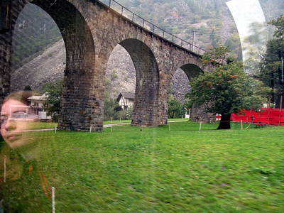 Traveling under the Brusio circle viaduct