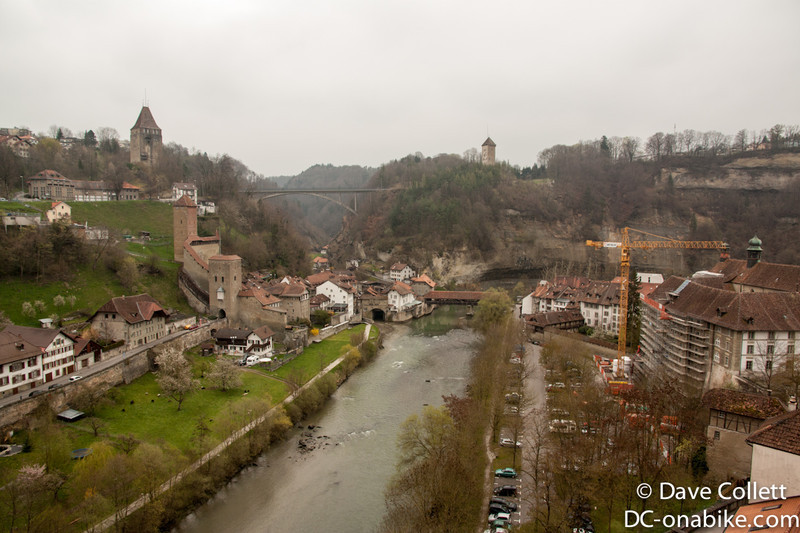 Crossing one of Fribourg's many bridges