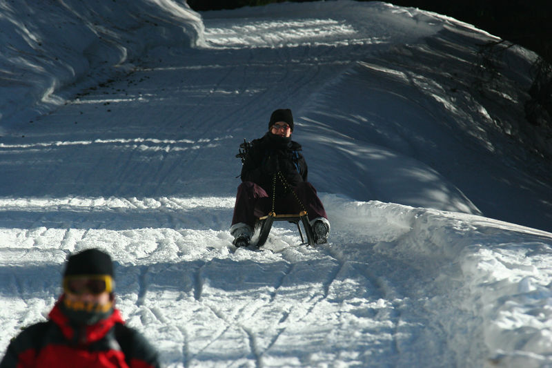 Miriam & Terri sledding at Feldis in Switzerland