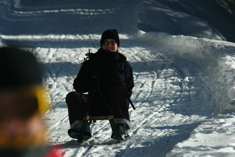 Terri sledding at Feldis in Switzerland