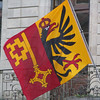 "Geneva flag - ""half a chicken and the key to the wine cellar"""