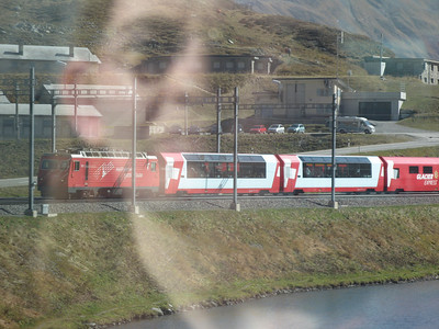 The other glacier express train going the other way. Only one track on most of the line.