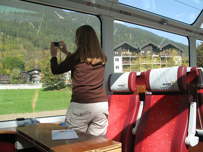 Becky taking a picture on the Glacier Express