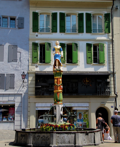 Switzerland, Lake Geneva Region, Lausanne, Fountain of Justice