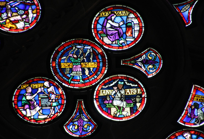 Switzerland, Lake Geneva Region, Lausanne, Cathedral of Notre Dame, Rose Stained Glass, 13th Century