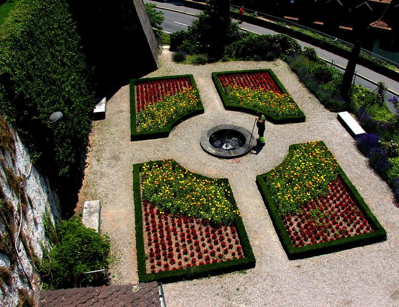 Switzerland, Lake Geneva Region, Lausanne, Cathedrale of Notre Dame Gardens
