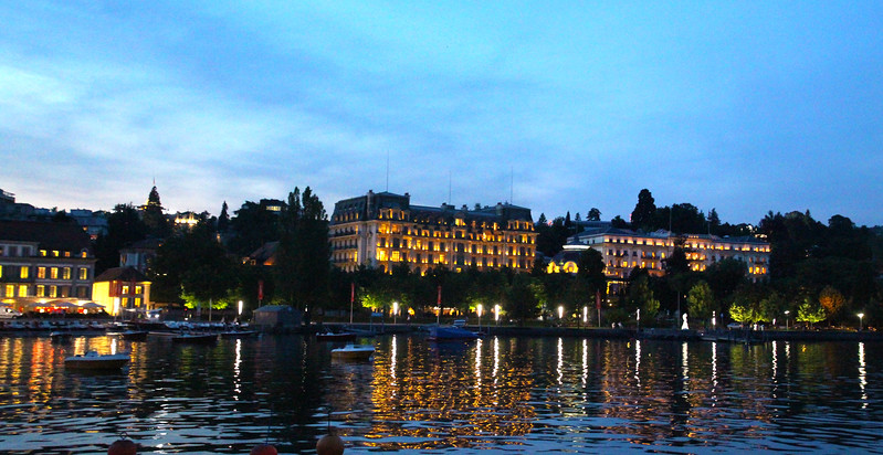 Switzerland, Lake Geneva Region, Lausanne, Evening View on Promenade