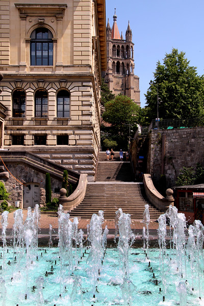 Switzerland, Lake Geneva Region, Lausanne, Fountains, Palais de Rumine