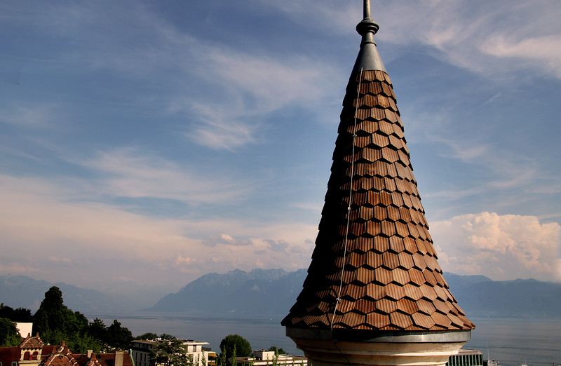 Switzerland, Lake Geneva Region, Lausanne, Royal Savoy, View from Rooftop Bar Onto Lake