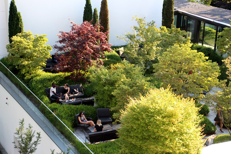 Switzerland, Lake Geneva Region, Lausanne, Royal Savoy Hotel, View on Garden