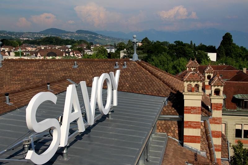 Switzerland, Lake Geneva Region, Lausanne, Savoy Hotel Rooftop Bar View