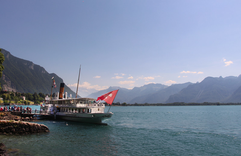 Switzerland, Lake Geneva Region, Passenger Boat Stop, Chillon