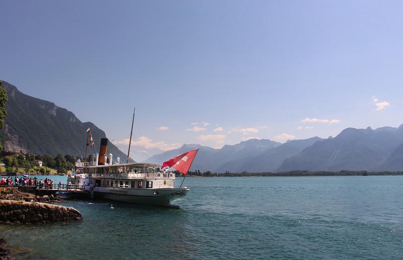 Switzerland, Lake Geneva Region, Passenger Boat Stop, Chillon