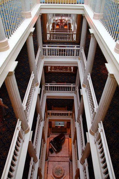 Switzerland, Lake Geneva Region, Hotel des Trois Couronnes, View down on Foyer