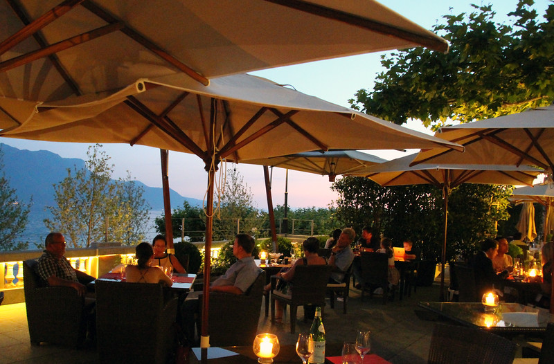 Switzerland, Lake Geneva Region, Romantic Dining on Patio, Hotel des Trois Couronnes