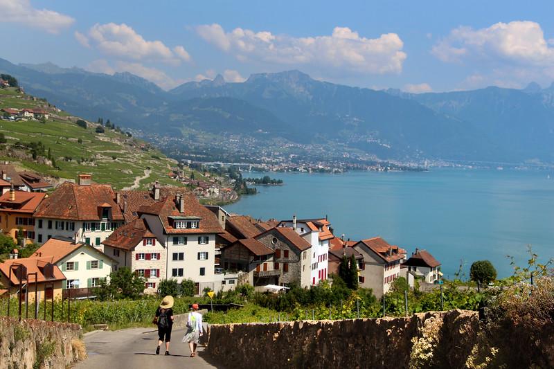 Switzerland, Lake Geneva Region, View on Village of Rivaz