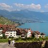 Switzerland, Lake Geneva Region, View on Village of Rivaz