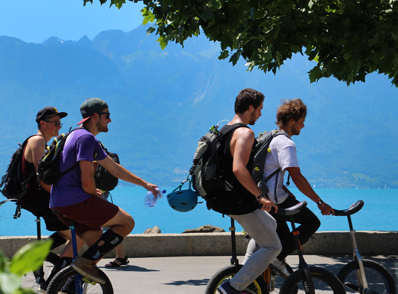 Switzerland; Lake Geneva Region; Vevey, Unicycles