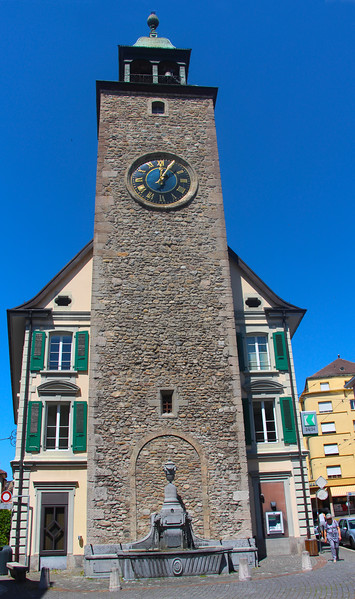 Switzerland, Lake Geneva Region, Vevey, Clock Tower