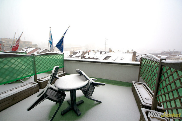 our terrace after the snow at Minotel Crystal Hotel