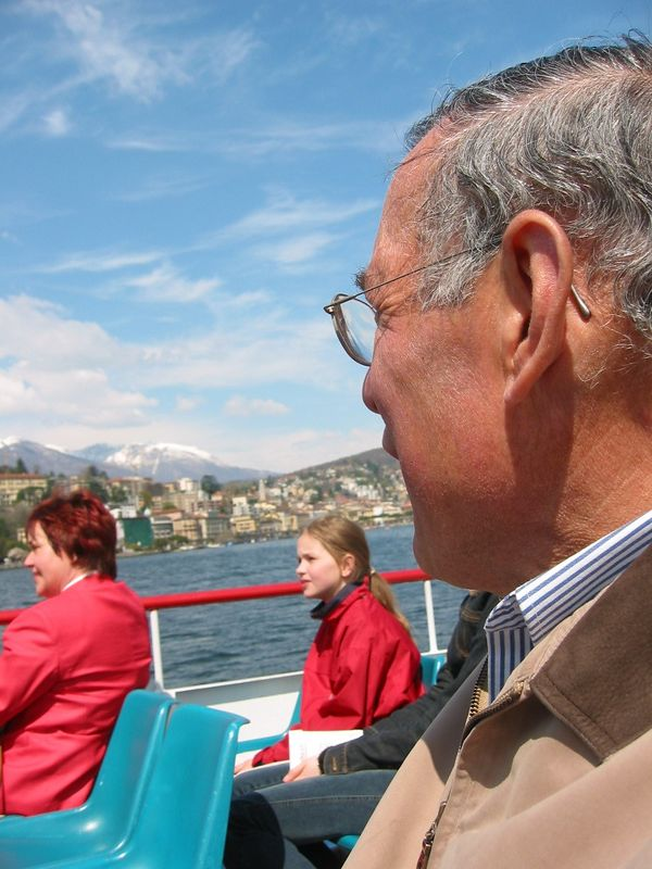 Dad on boat in Lugano