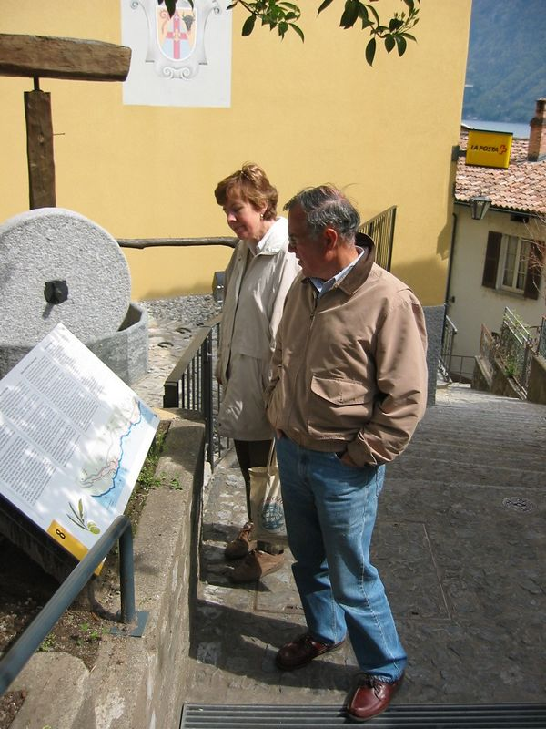 Mom and Dad in small fishing village near Lugano