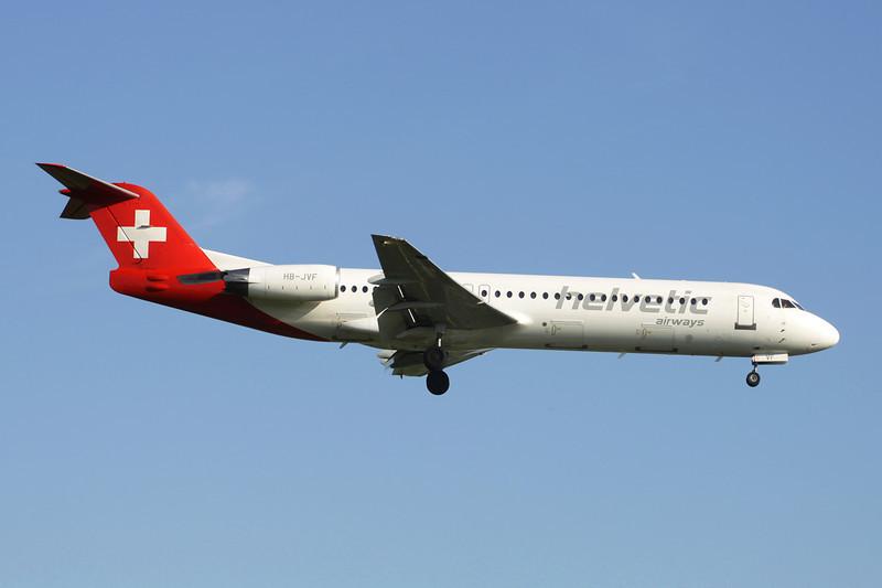 """HB-JVF Fokker F-100 """"Helvetic Airways"""" c/n 11466 Brussels/EBBR/BRU 27-05-13"""