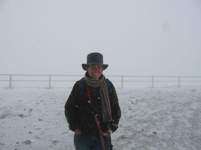 October - caught in freak blizzard on top of Rigi, without winter coat.
