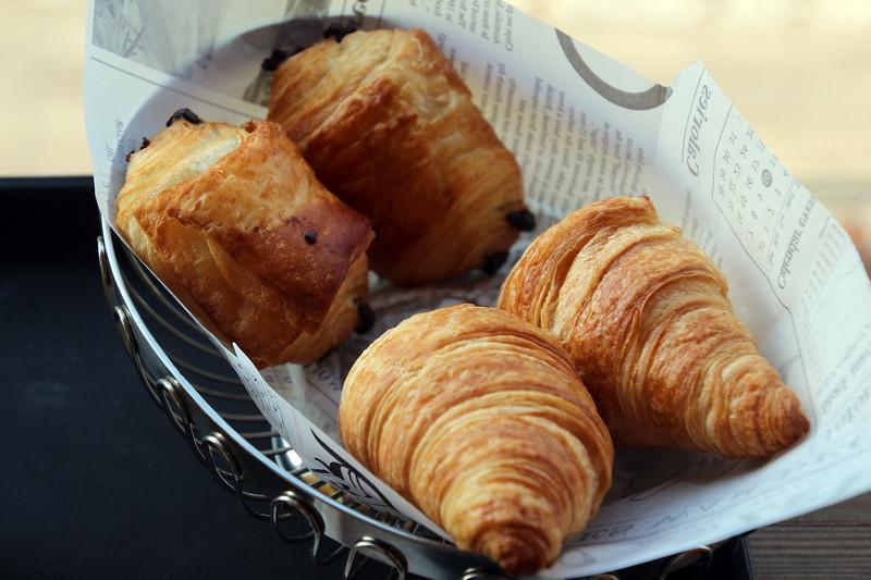 Switzerland, Pays-d'Enhaut, Breakfast Croissants, Hotel Valrose