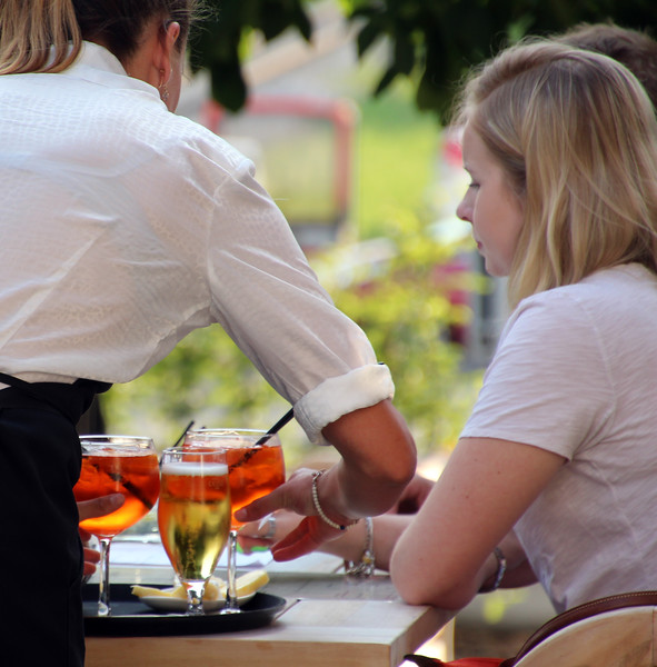 Switzerland, Pays-d'Enhaut, Rougement, Hotel Valrose, Drinks on Patio