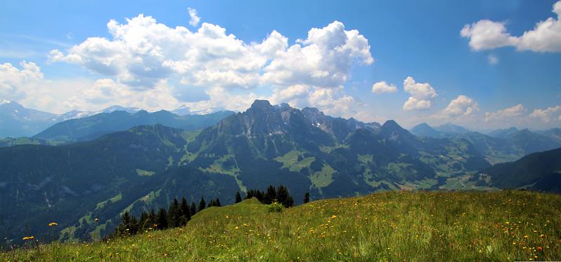 Switzerland, Pays-d'Enhaut, Mountain Panorama