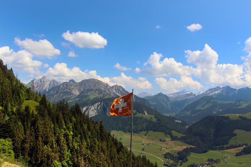 Switzerland, Swiss Flag, Mountaintop, Jardin des Monts