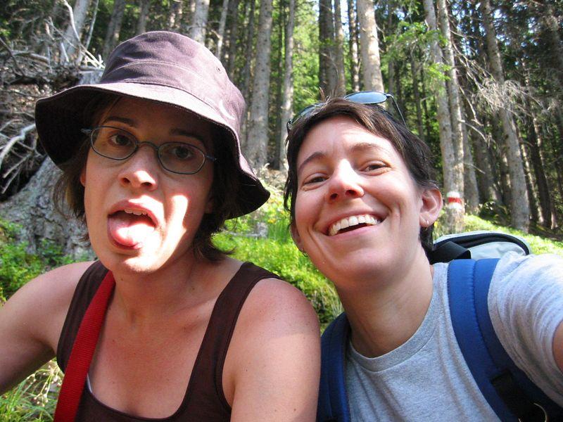 Terri and Paula, in Murren. Also Terri's tongue.