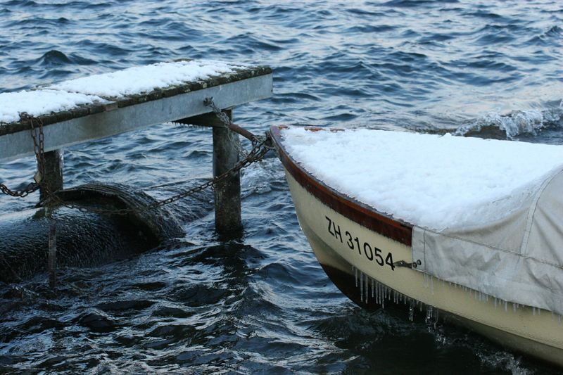 Fishing boat in winter, Thalwil