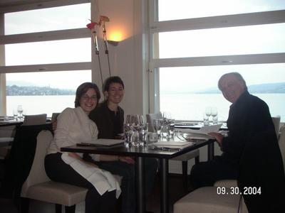 Terri, Paula, and Jack. Kathy is taking the picture.... Dinner at L'O in Horgen, on Lake Zurich