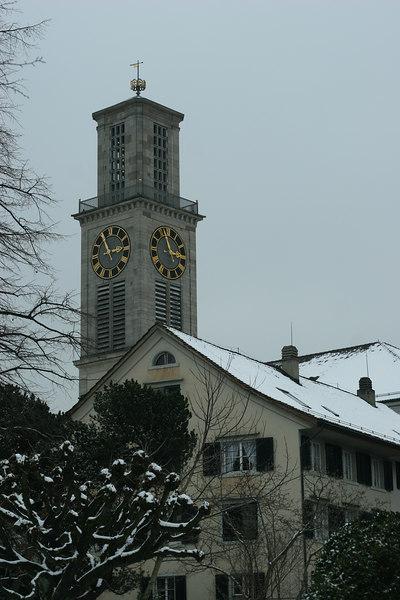 The church clock tower in Thalwil, Canton Zurich, Switzerland