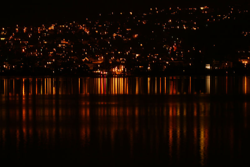 View from Thalwil at night, looking out across Lake Zurich.