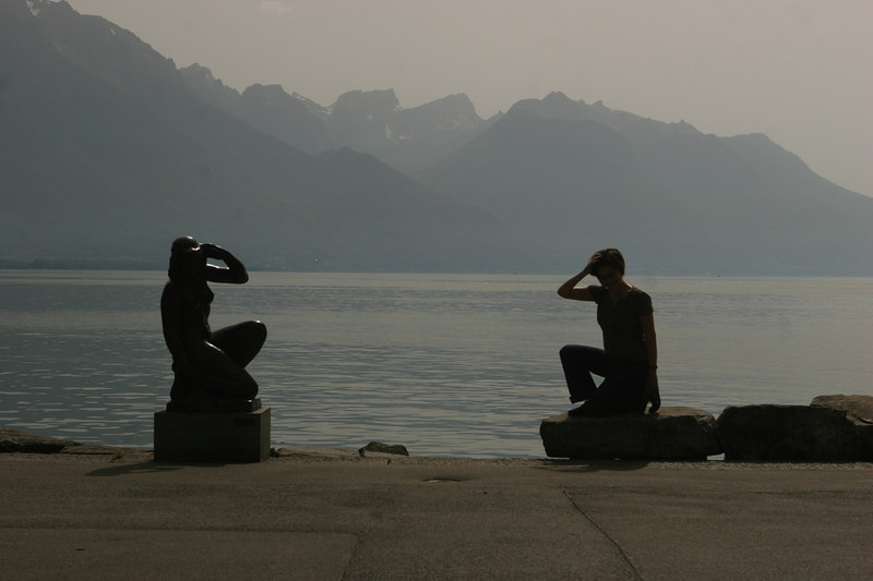 Terri and statue, in Montreux