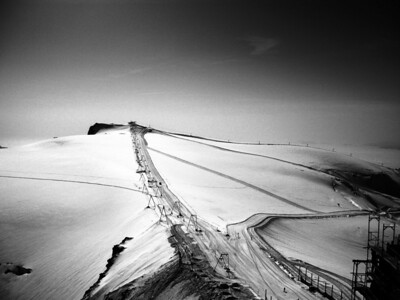 Another photo of the ski area of at the top of the mountain (in black and white)
