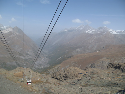 Second cable car, with Zermatt in the background.