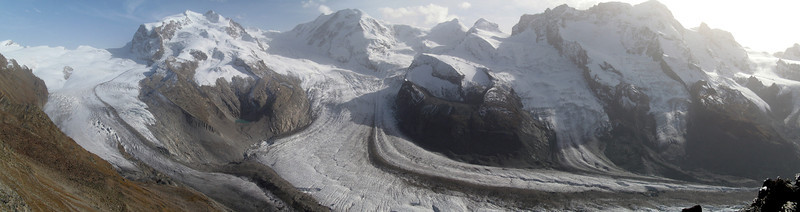 Panorama of Gorner Glacier valley. From left to right, Gornergletscher, Grenzgletscher, Zwillingsgletscher, Schwärzegletscher, Breithorngletscher and Theodulgletscher