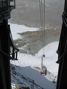 First cable car taken on the way down towards Zermatt.