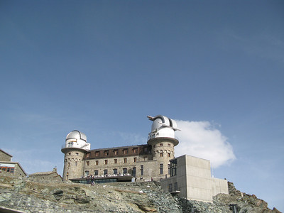 Looking up towards the observatory at from the Gornergrat station.