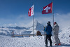 Two skiers pause to view the Matterhorn from Rothorn Paradise, 3103 meters.