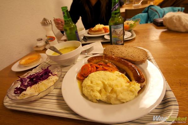 Free dinner at Zermatt Youth Hostel