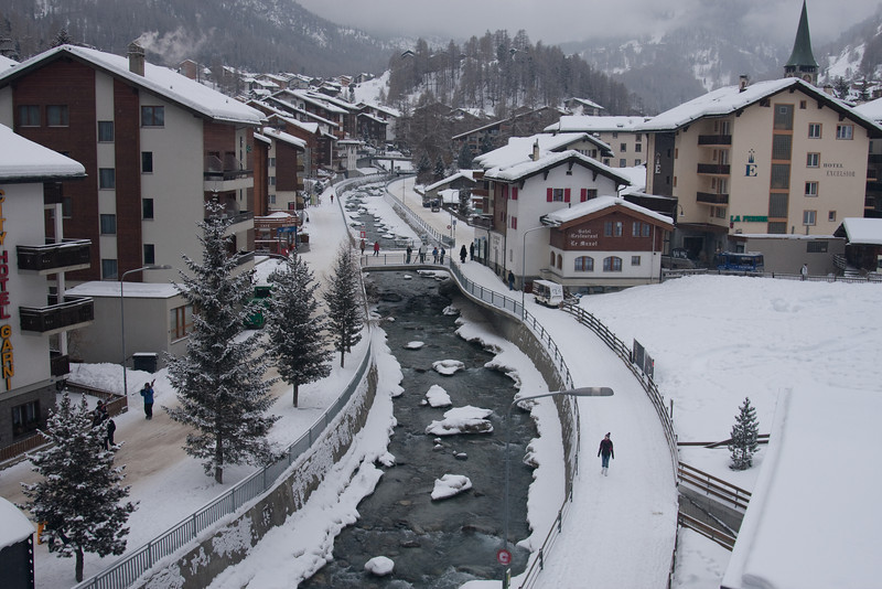 Matter Vispa river flowing through town of Zermatt, 1620M