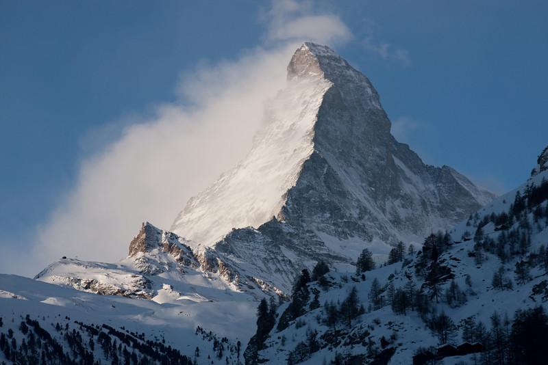 View of Matterhorn from town of Zermatt, 1620M