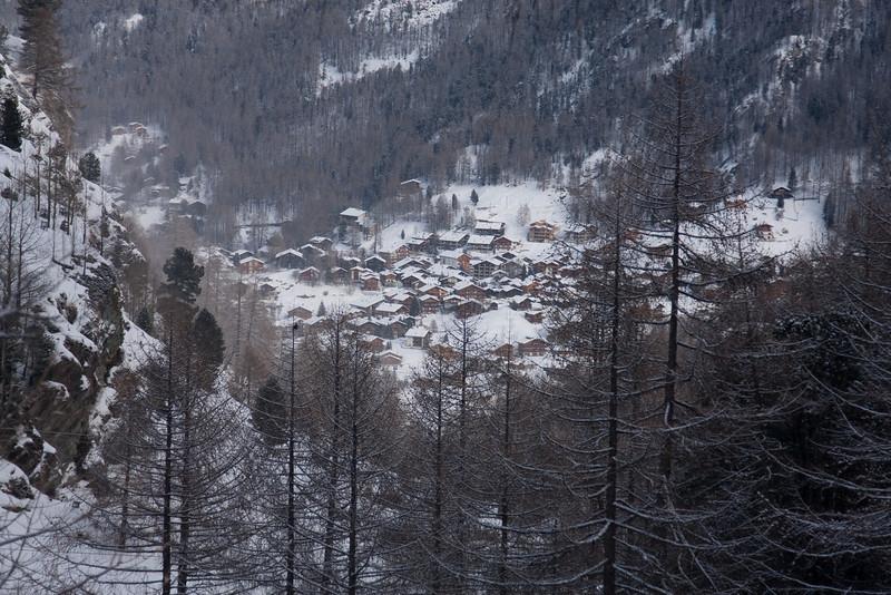View down to Zermatt, from Zmutt