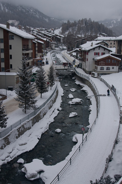Matter Vispa flowing through town of Zermatt, 1620M