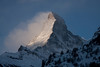 View of Matterhorn from town of Zermatt, 1620M